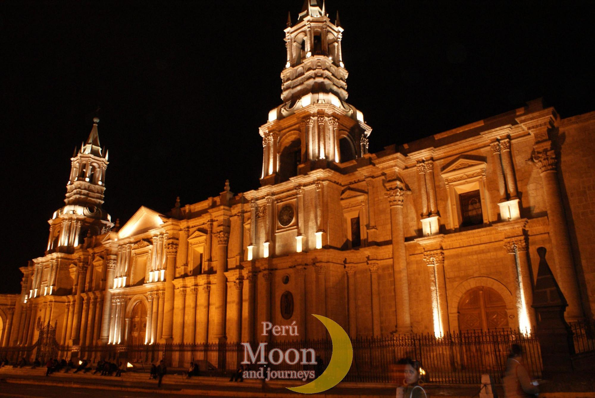 Cathedral of Arequipa at night